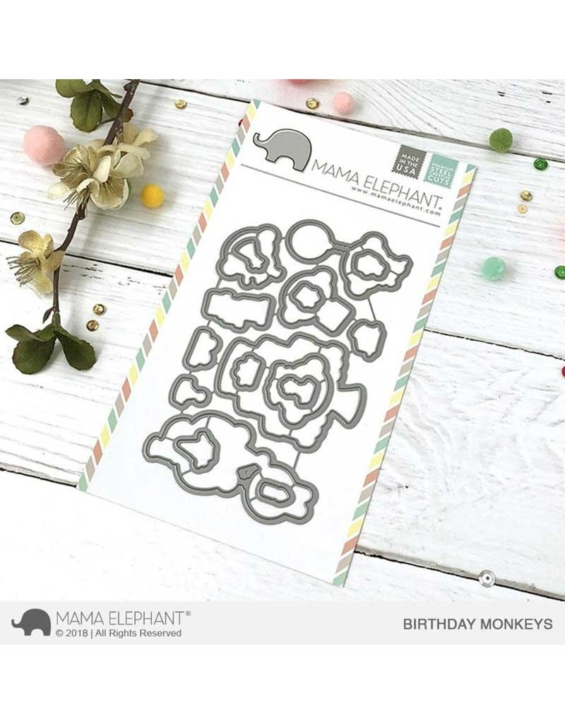 SALE - MAMA ELEPHANT BIRTHDAY MONKEYS DIE SET