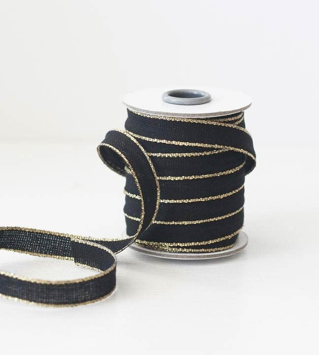 Black and Gold Woven Ribbon