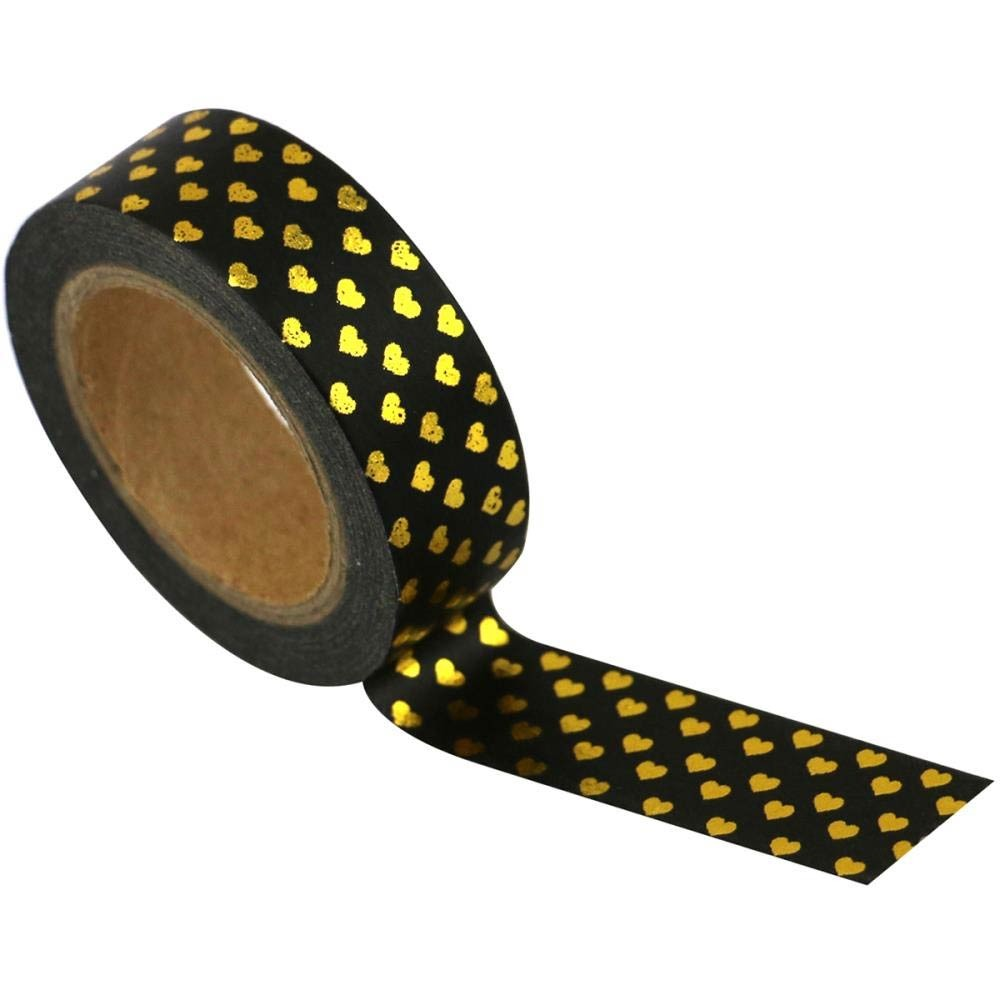 Black with gold hearts washi tape