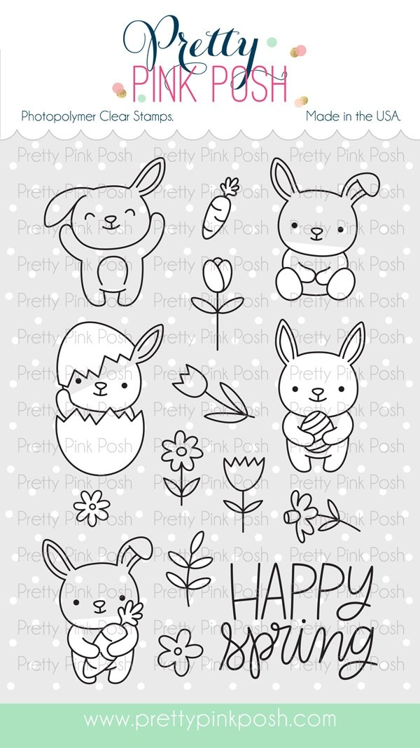 SALE - Pretty Pink Posh Bunny Friends Stamp and Die Set Combo