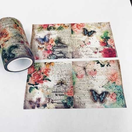 Butterfly & Bird Cage Washi Tape - Wide