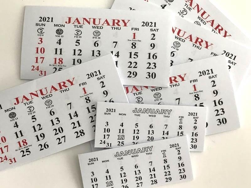 2021 Mini Calendars