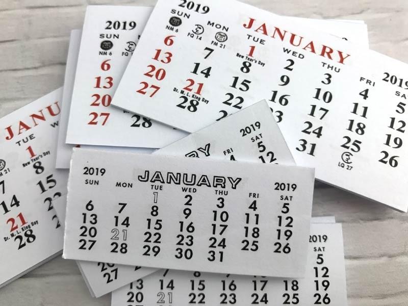2019 Mini Calendars