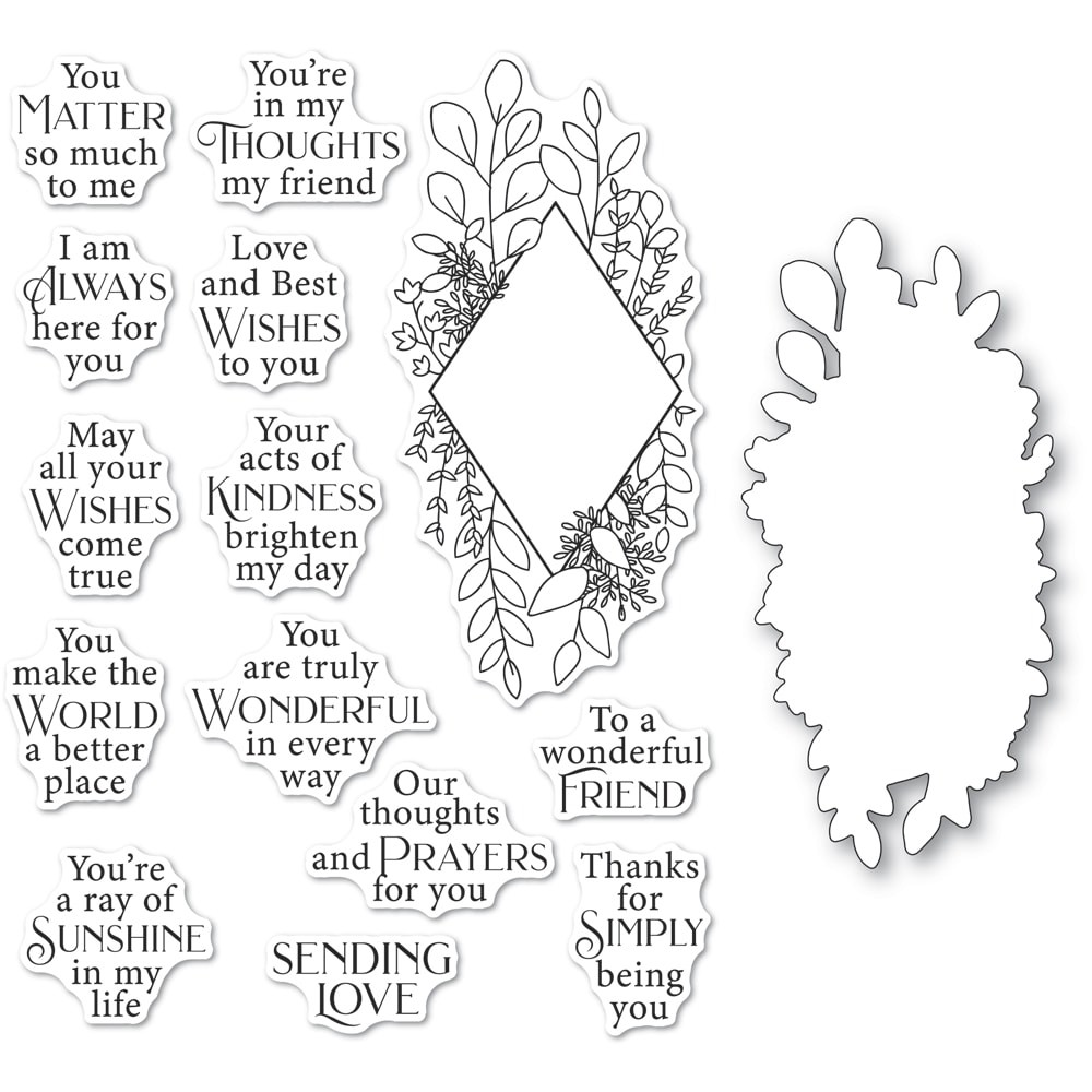 Poppystamps Diamond Sentiments clear stamp and die set cb498