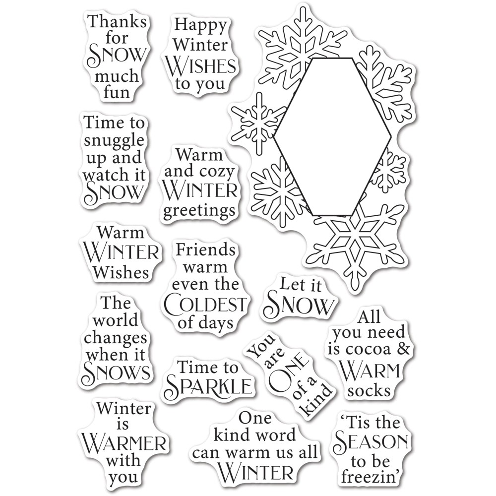 poppystamps Wintertime Sentiments clear stamp and die set CB508