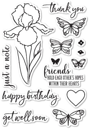Memory Box Sentimental Iris clear stamp set   CL5202