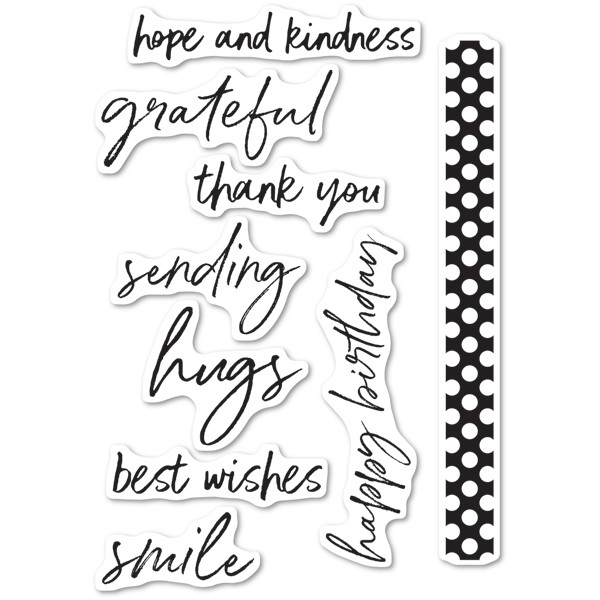 Memory Box Bold Friendly Greetings clear stamp set
