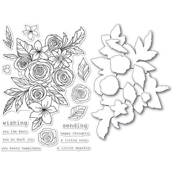 Rose Bouquet clear stamp and die set