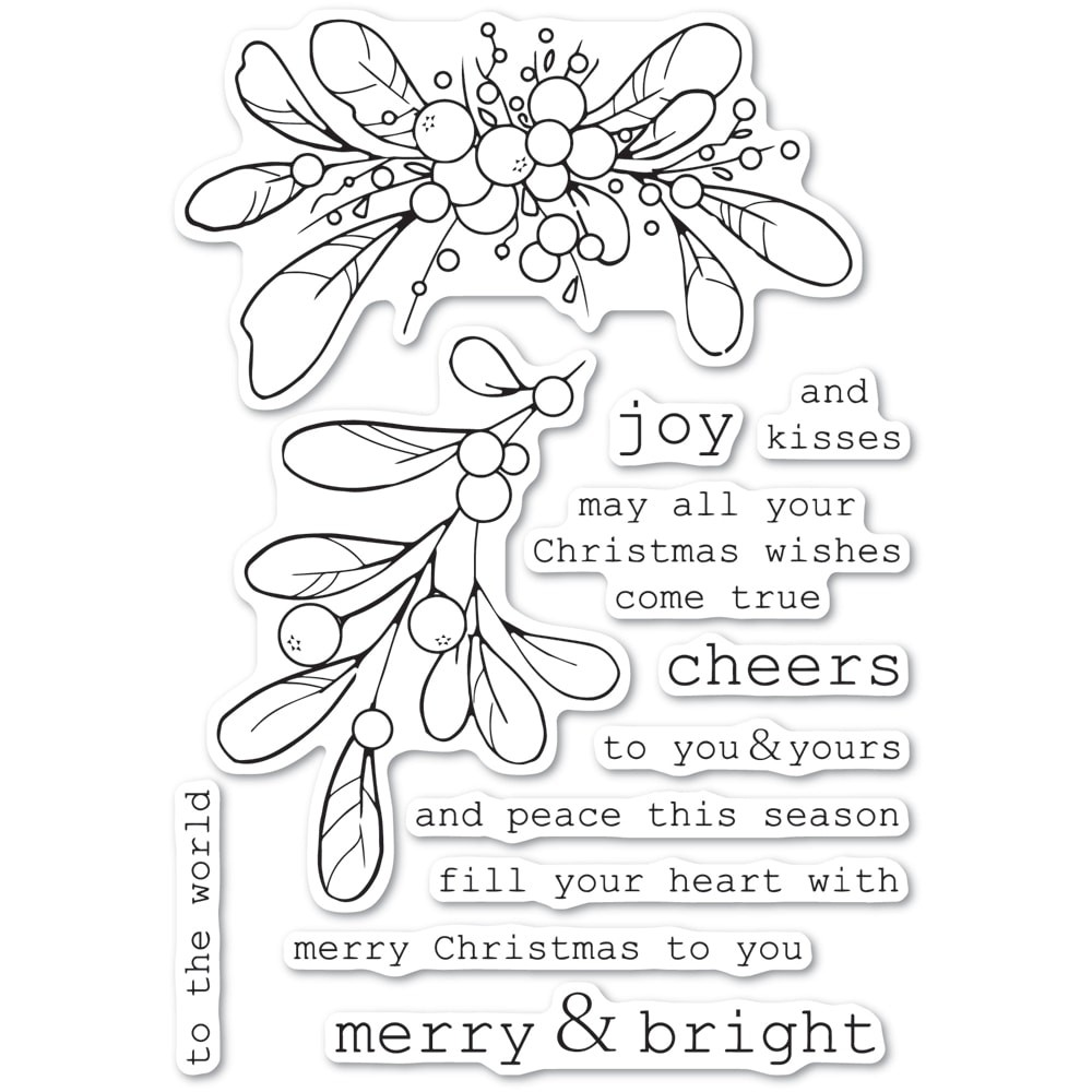 Memory Box Merry and Bright Mistletoe clear stamp set CL5246