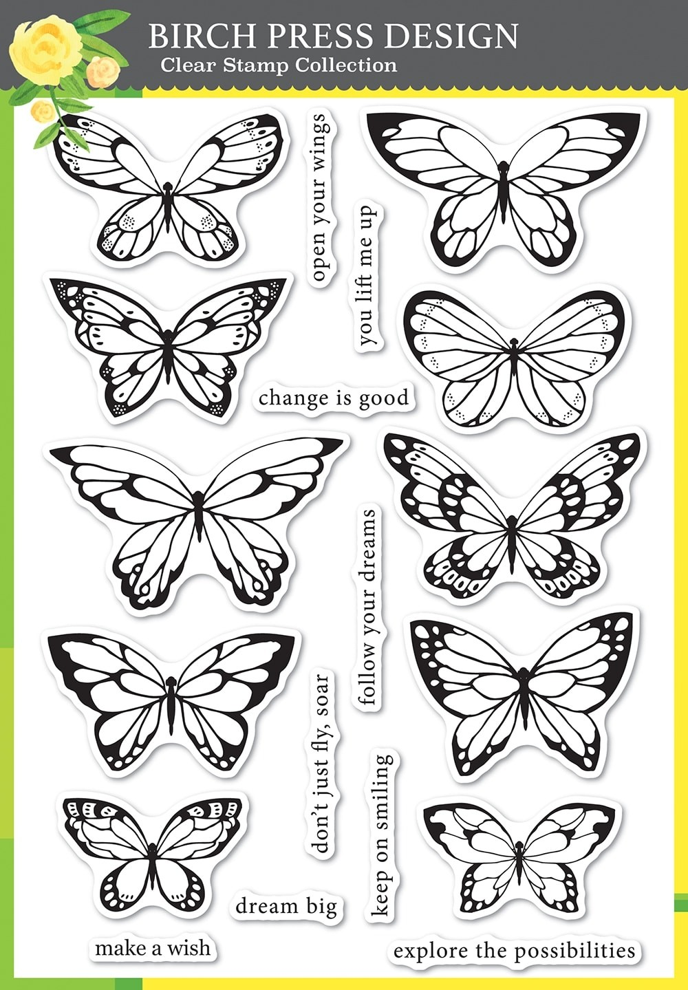 Birch Press Lovely Butterflies clear stamp set plus die 8150