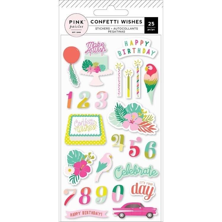 Confetti Wishes Puffy Stickers