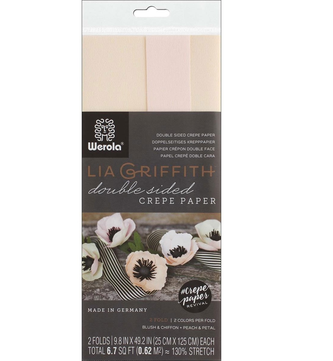 doublette crepe paper - blush & chiffon and peach & petal