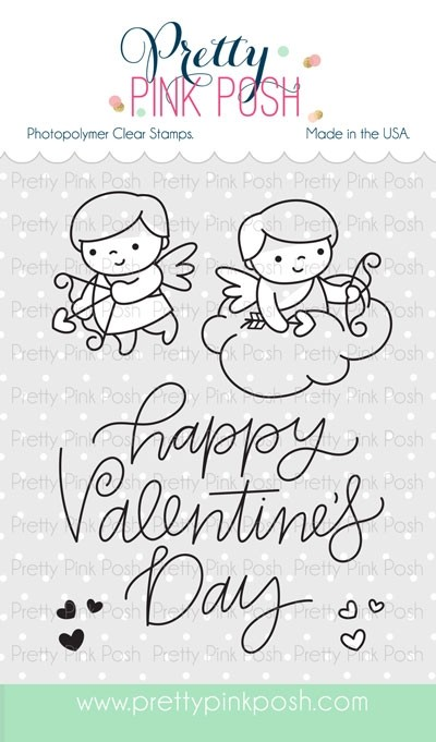 SALE - Pretty Pink Posh Cupid Friends Stamp Set 4 x 6 and matching dies