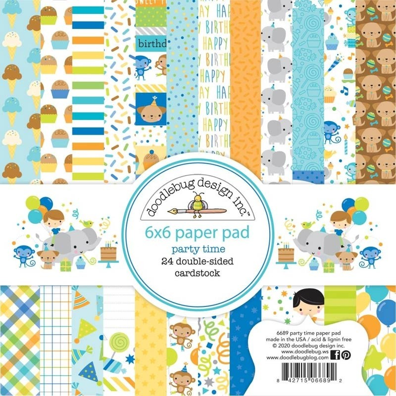 "Doodlebug Double-Sided Paper Pad 6""X6"" Party Time"