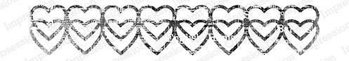 Double Heart Border Rubber Stamp  ioe13267