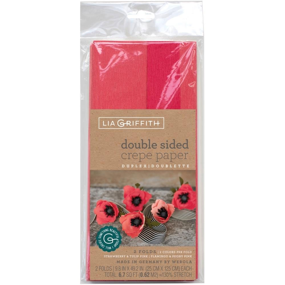 doublette crepepPaper -Strawberry/Tulip Pink & Flamingo/Peony Moss