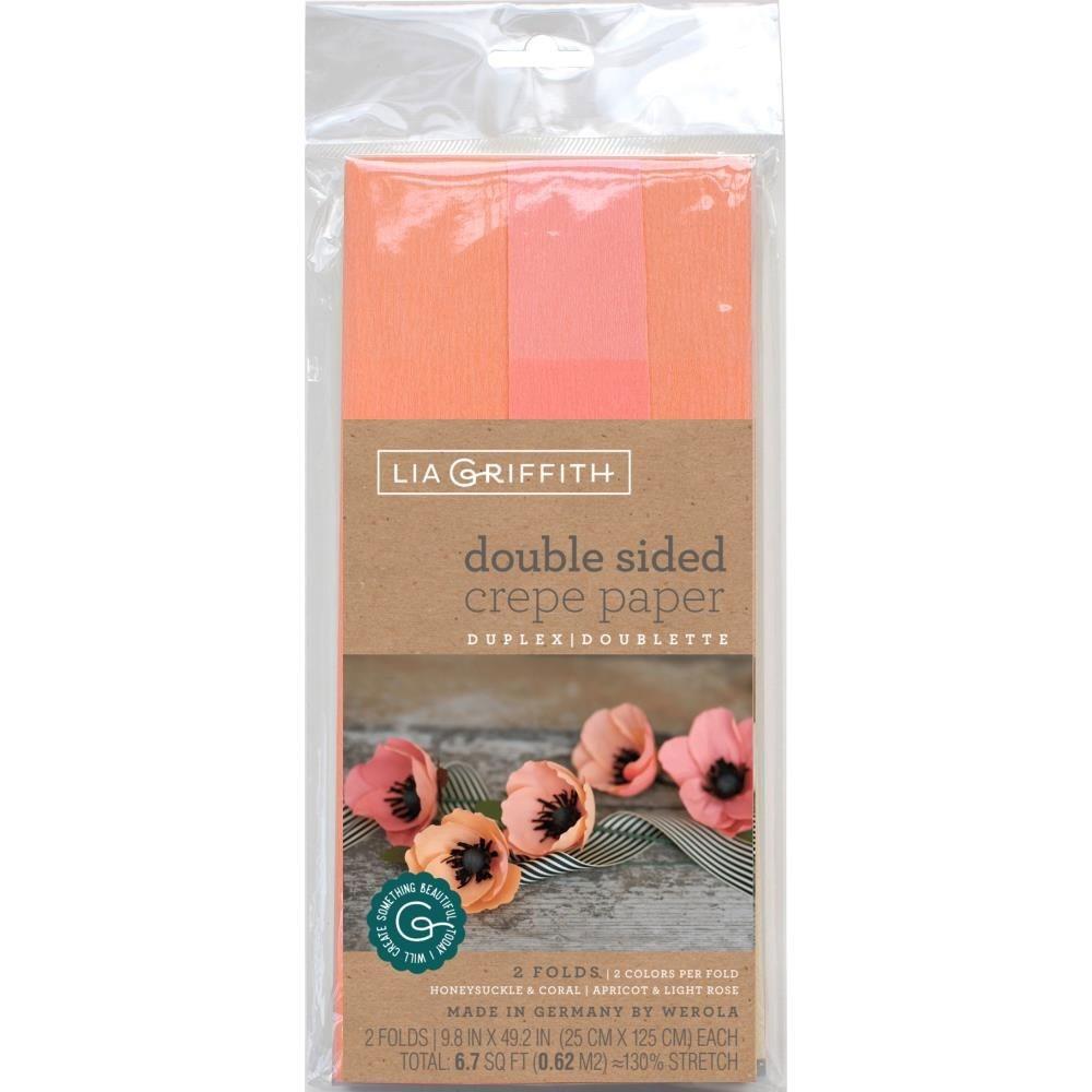 doublette crepe paper Honeysuckle/Coral & Apricot/Light Rose