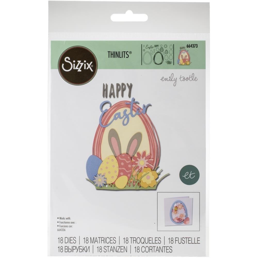 SALE - Sizzix Thinlits Dies By Emily Tootle 18/Pkg