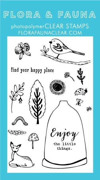 SALE - Flora & Fauna Happy Place Woodland Clear Stamp Set