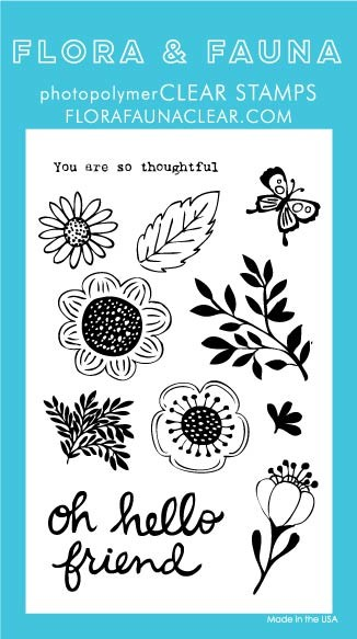 SALE - Flora & Fauna Oh Hello Friend Clear Stamp Set