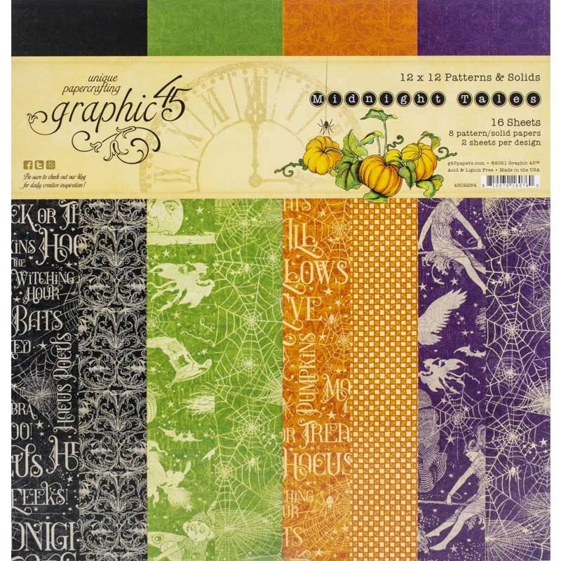 Graphic 45 Midnight Tales 12 x 12 patterns and Solids