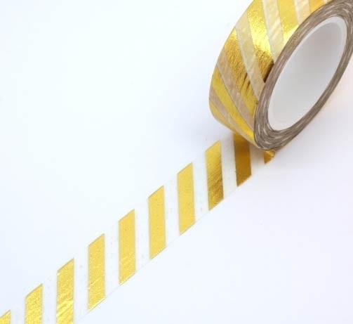 Gold Foil Diagonal Stripe Washi Tape