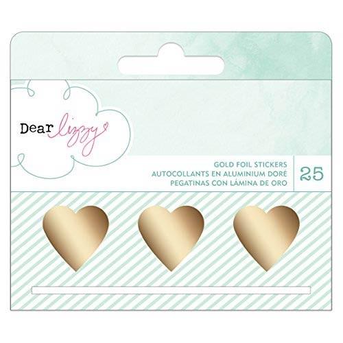 Dear Lizzy Gold Foil Heart Stickers