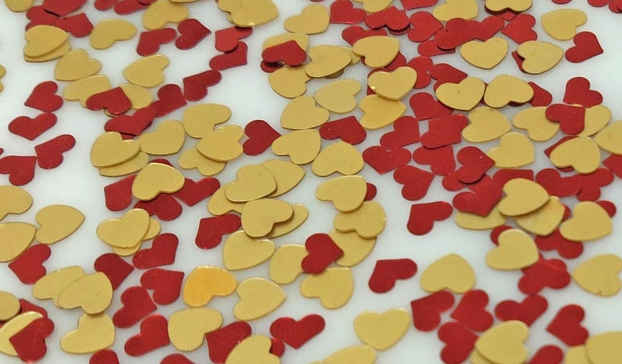 Red & Gold Heart Sequins