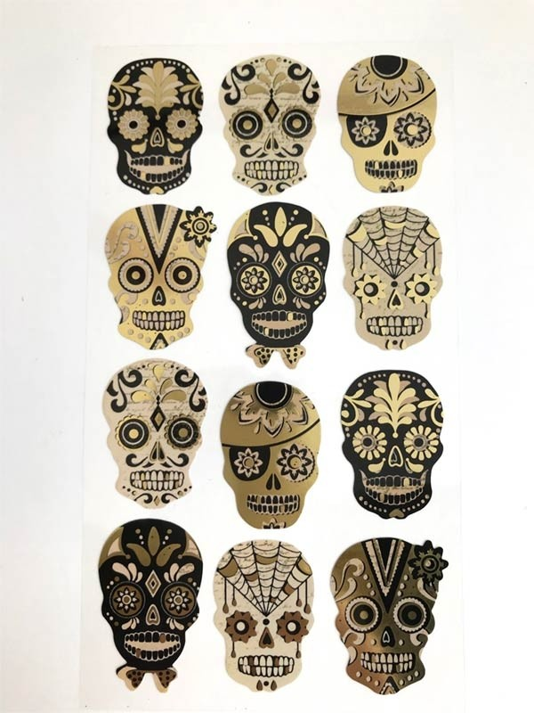 Black and Gold Sugar Skull Stickers