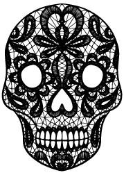 5723h - lace sugar skull stamp