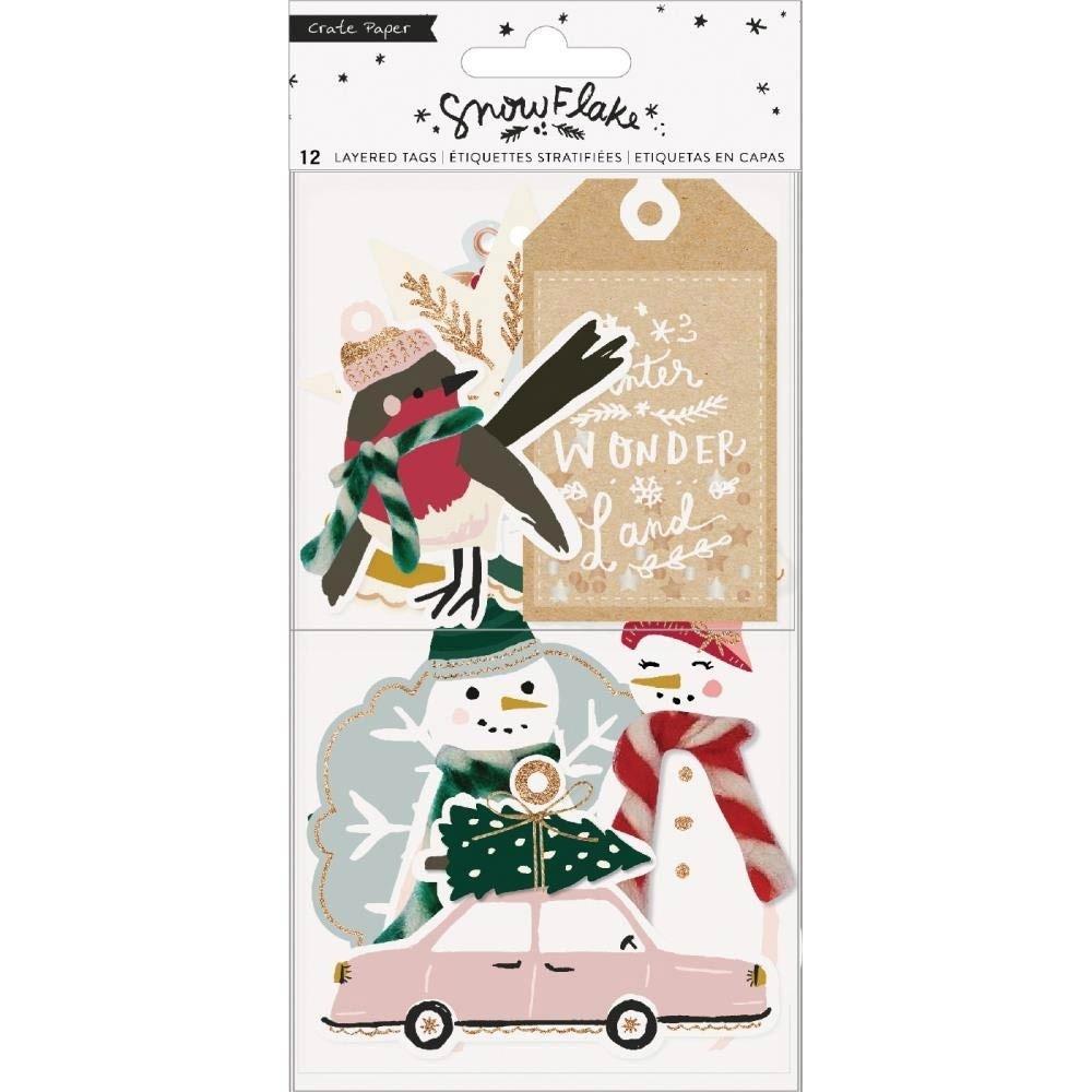 Cratepaper Snowflake Layered Tags 12/Pkg