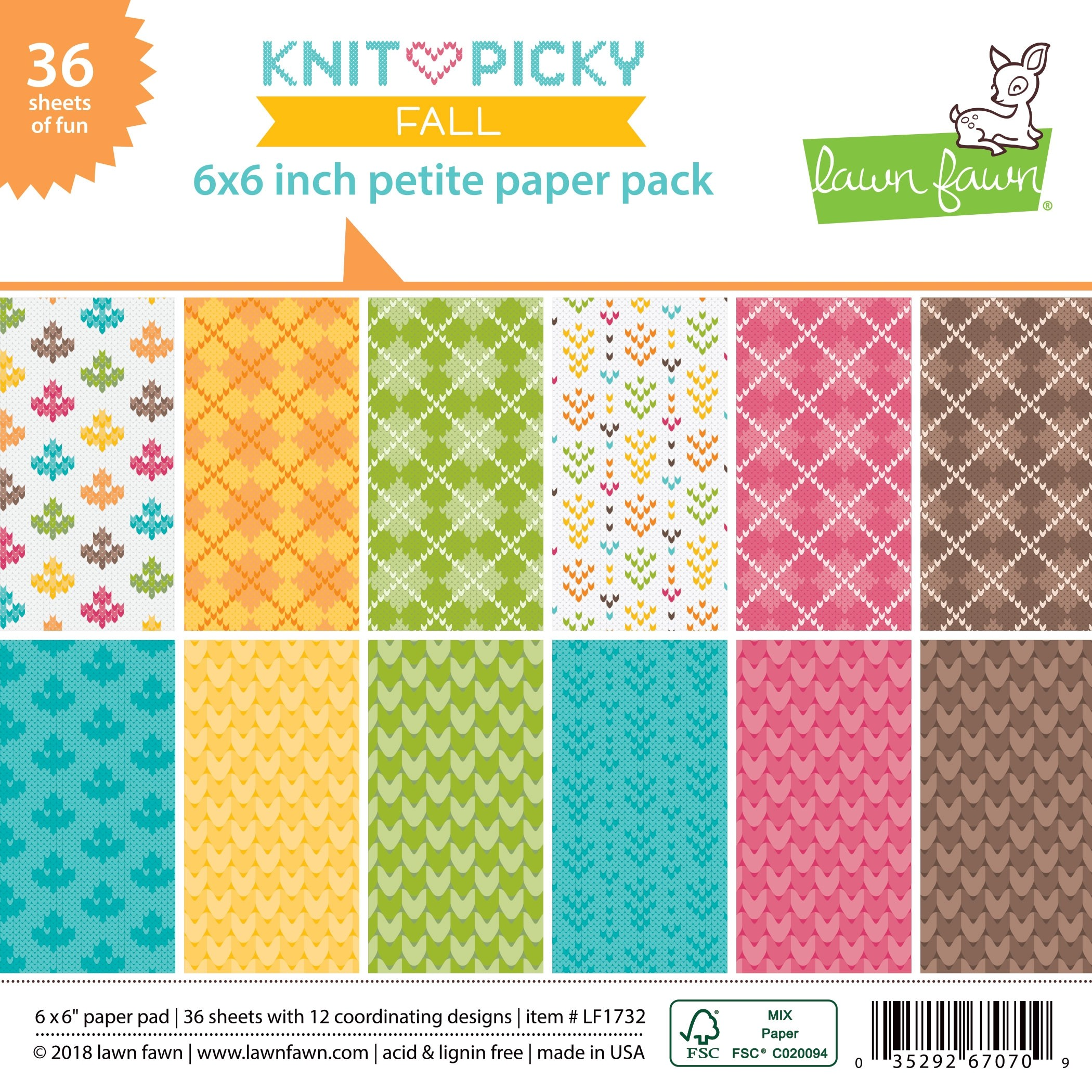 Lawn Fawn knit picky fall petite paper pack