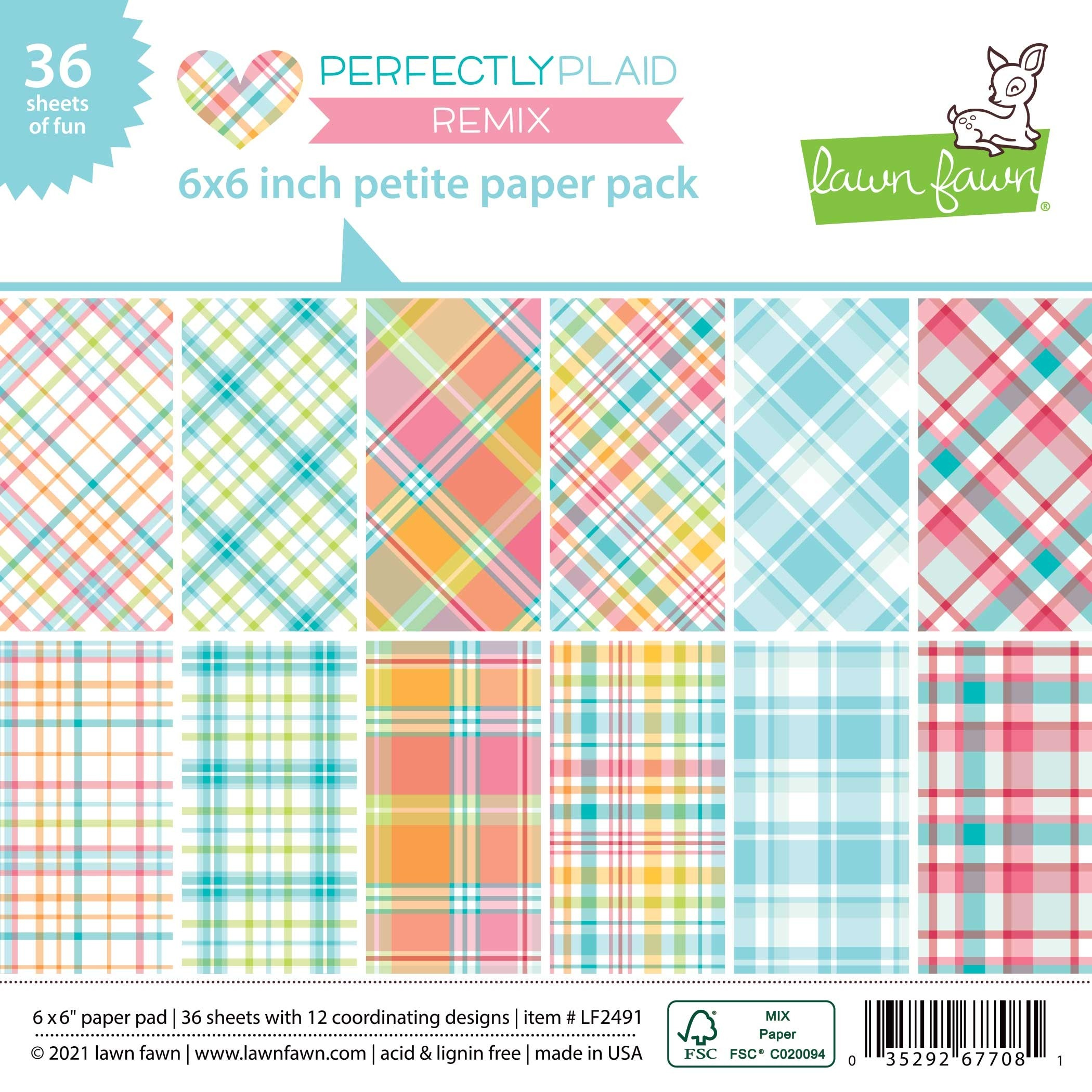 Lawn Fawn Perfectly Plaid Remix Petite Paper Pack