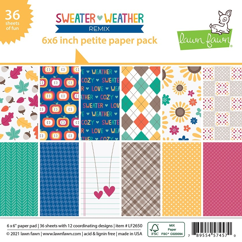Lawn Fawn sweater weather remix - 6x6 petite paper pack LF2650