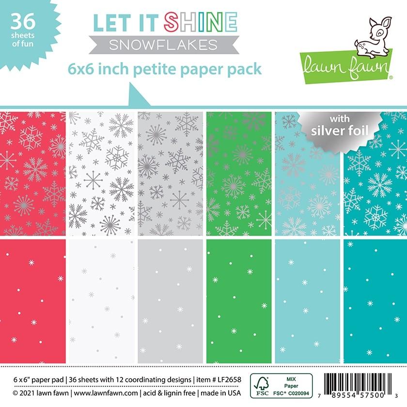 Lawn Fawn let it shine snowflakes - 6x6 petite paper pack LF2658