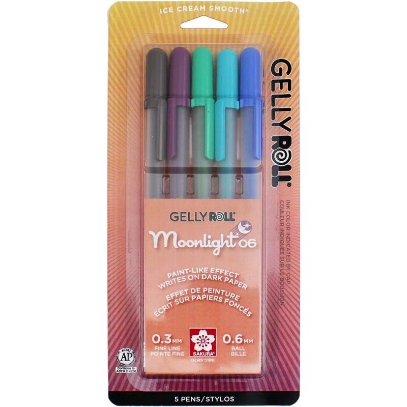 Gelly Roll Moonlight Fine Point Pens 5/Pkg - Lunar