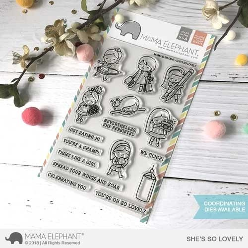SALE - Mama Elephant She's So Lovely Clear Stamp Set