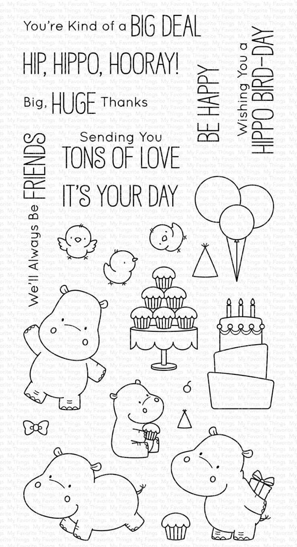 My Favorite Things Happy Hippos Clear Stamp and die set