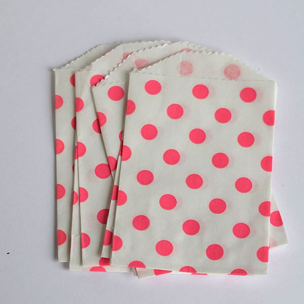 Mini polka dot bags - pink