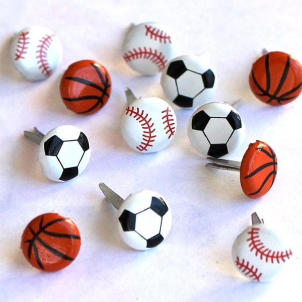 Mini sports ball brads