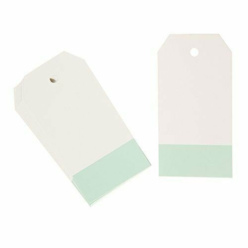 Paper Tags: White with mint green stripe , 2 x 3 inches