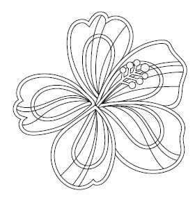 5699h - hibiscus outline rubber stamp