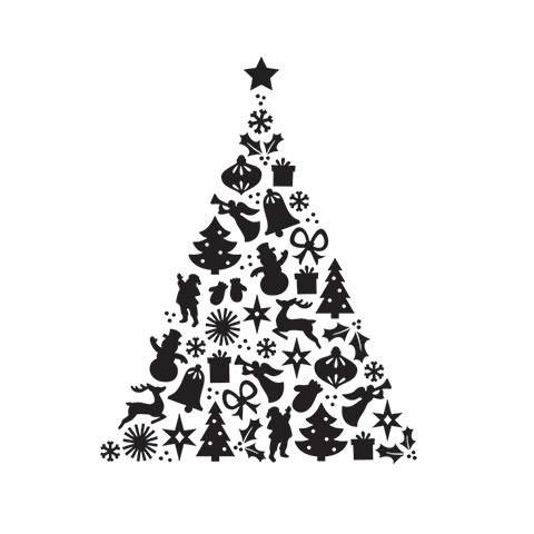 Patterned Christmas Tree Embossing Folder