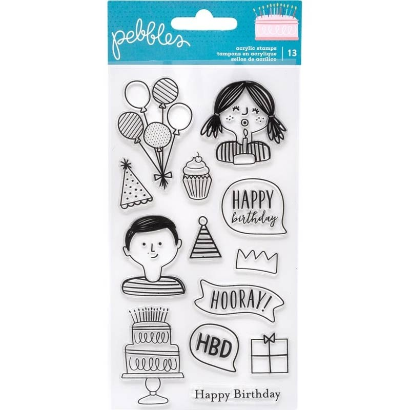 Pebbles Happy Cake Day Clear Stamps