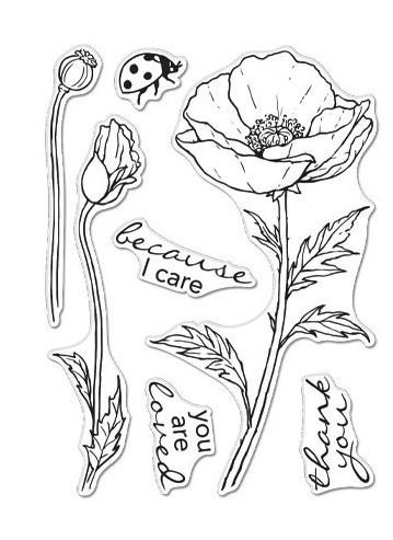 Hero Florals Poppy Clear Stamp Set
