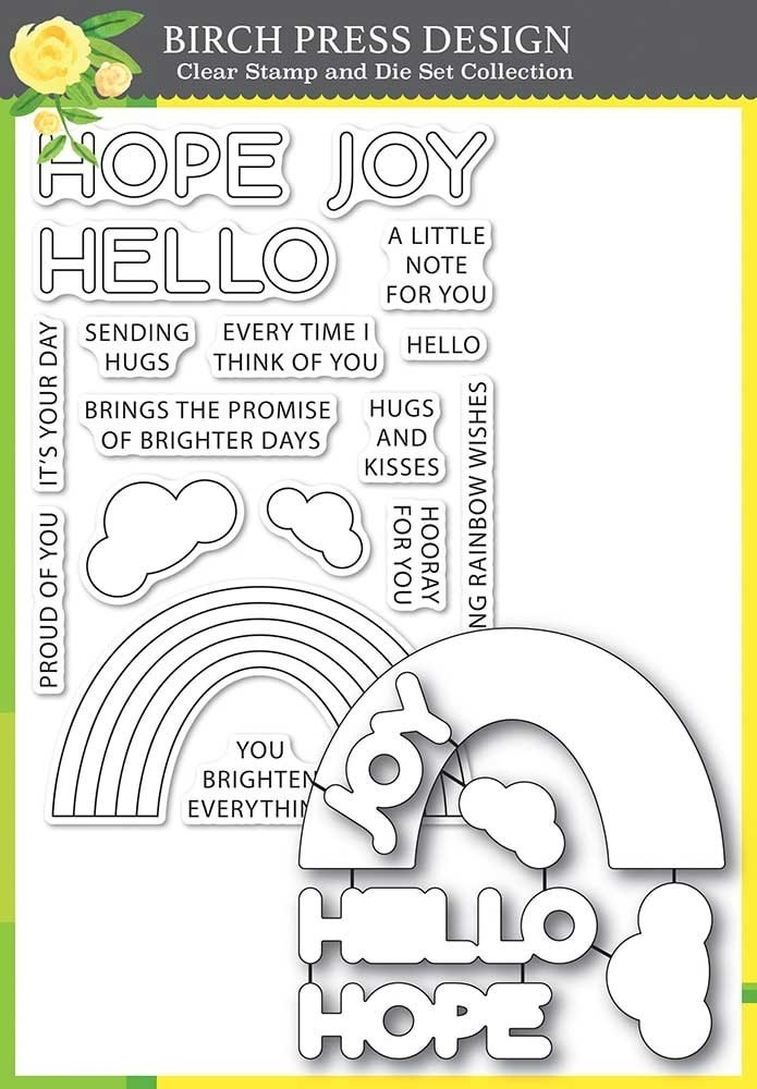 Birch Press Rainbow Days Lingo Notes clear stamp and die set 8159