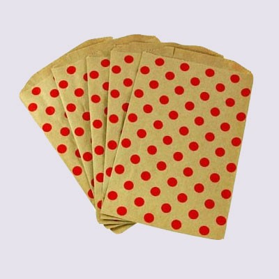 Middy polka dot bags - red on kraft