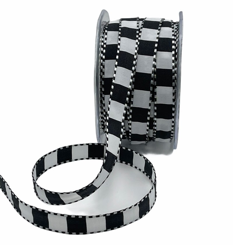 Black and White Checked Ribbon