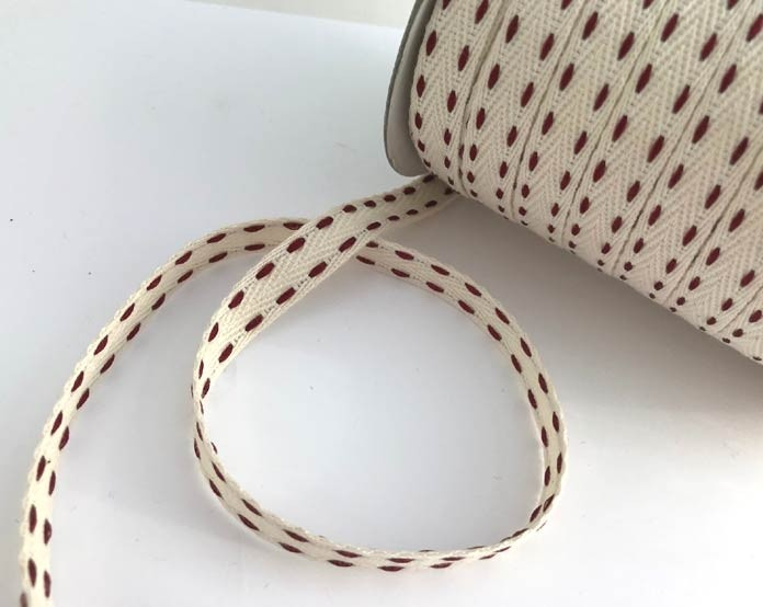 Red Stitched Woven Ribbon