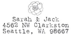 Sarah and Jack with Flower Custom Stamp